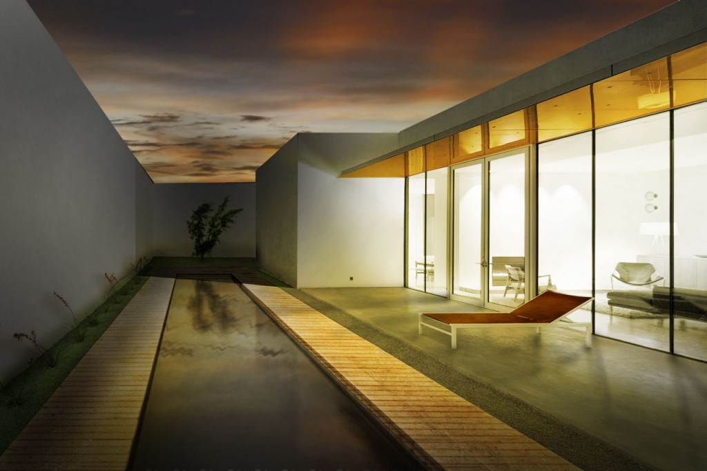 House Pool Night Rendering with Photoshop
