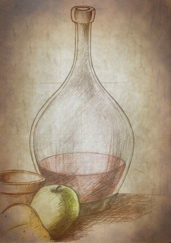 Still life Pencil drawing graphite coloured postedited in Photoshop