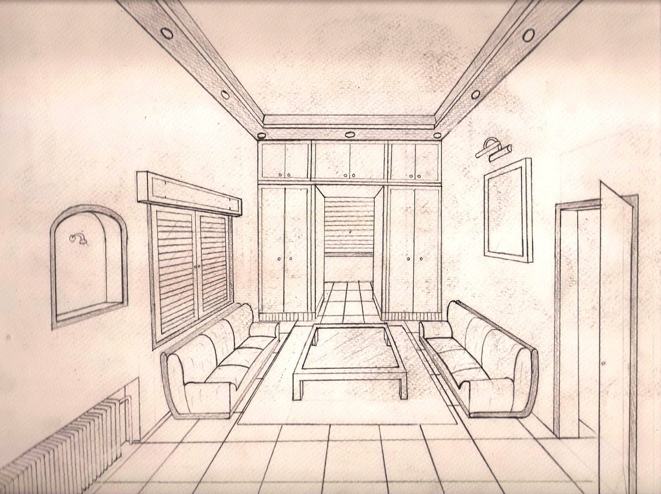 Drawings from preparation of admission to the faculty of for Architecture modern house design 2 point perspective view