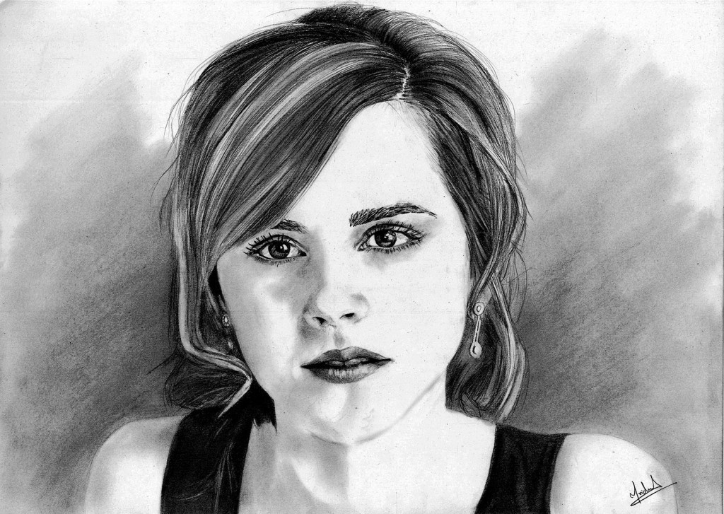 Emma Watson Portret Pencil Art Drawing