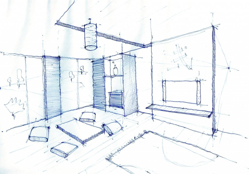 Interior Design Drawing, Living Room Pen Sketch
