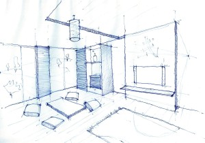 Interior Design Drawing, Living Room