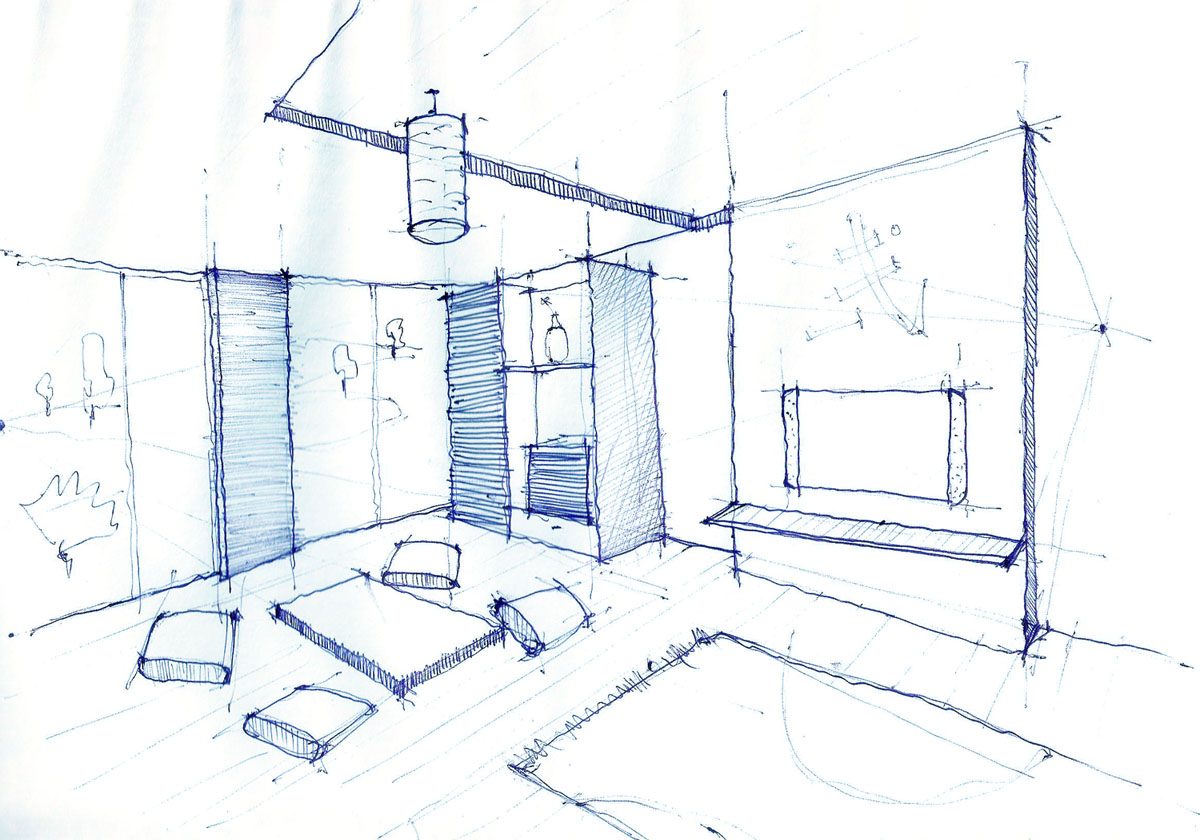 Interior design drawing living room pen sketch arch for Drawing room layout design