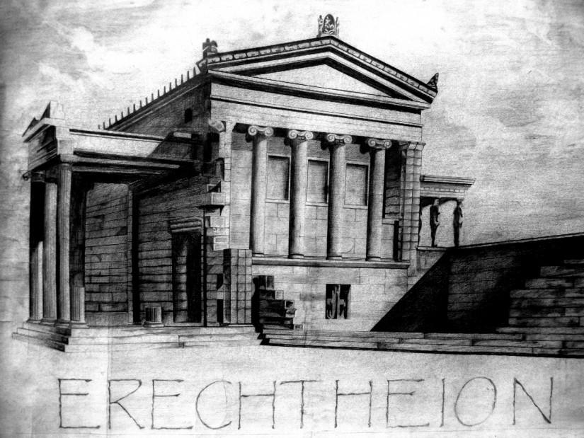 Greek Architecture Drawings Two pediments m drawings of