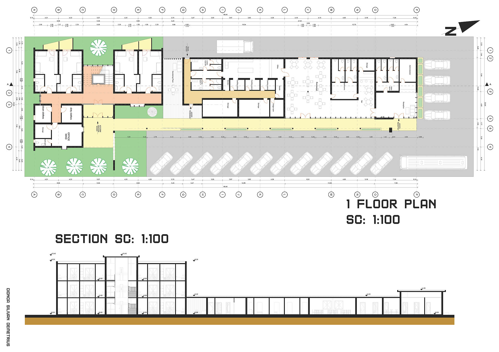 Pension Project Archicad Concept Architecture Design floor plan functions section