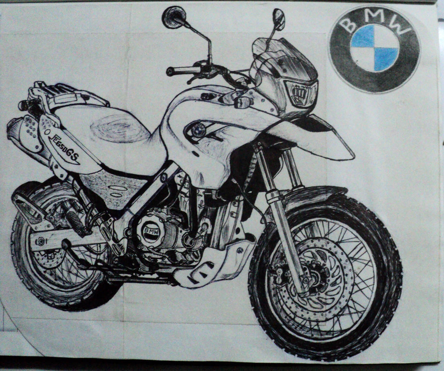 Bmw motocycle pencil drawing sketch