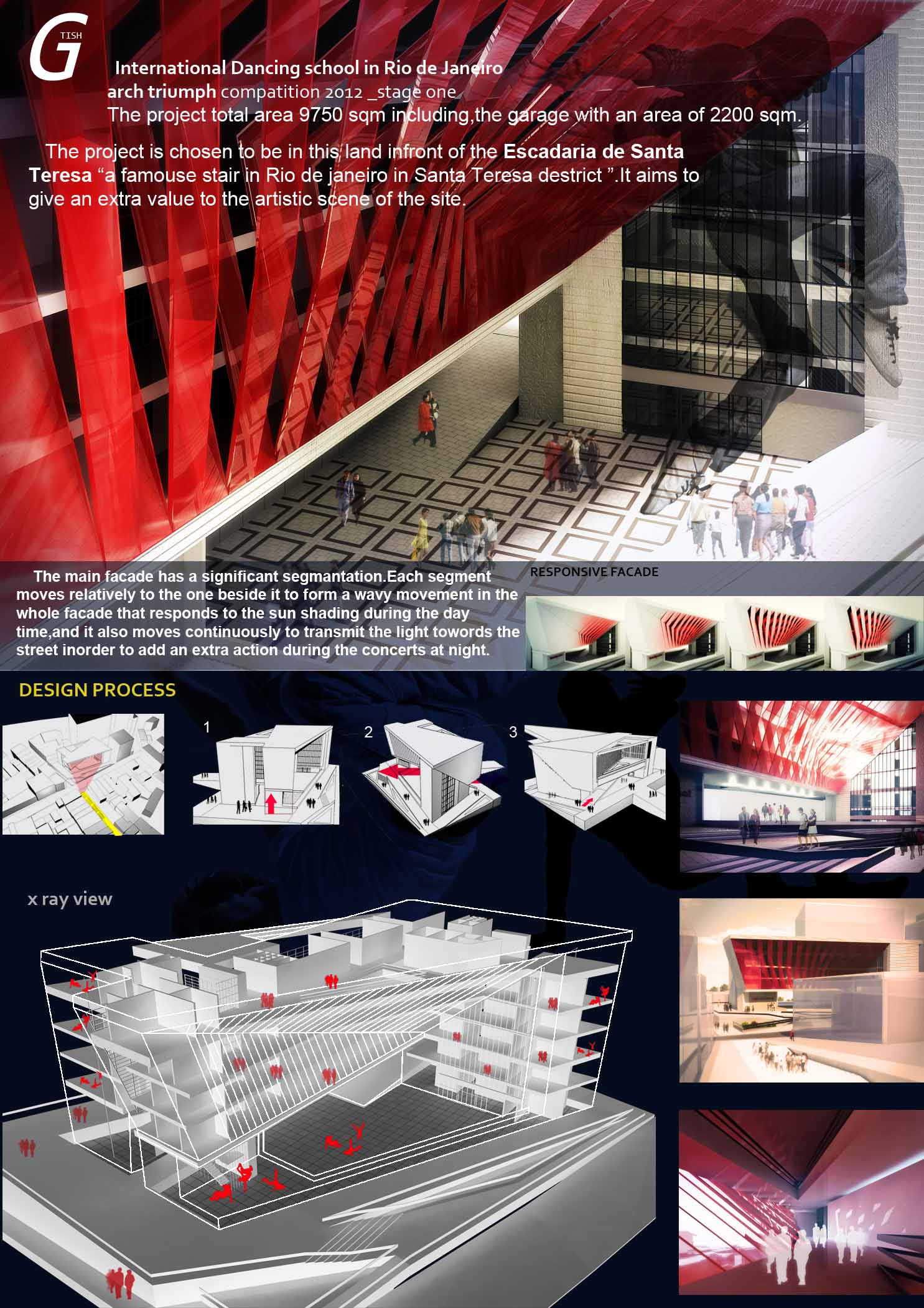 International Dancing School in Rio de Janeiro modern arch triumph competition interior concept