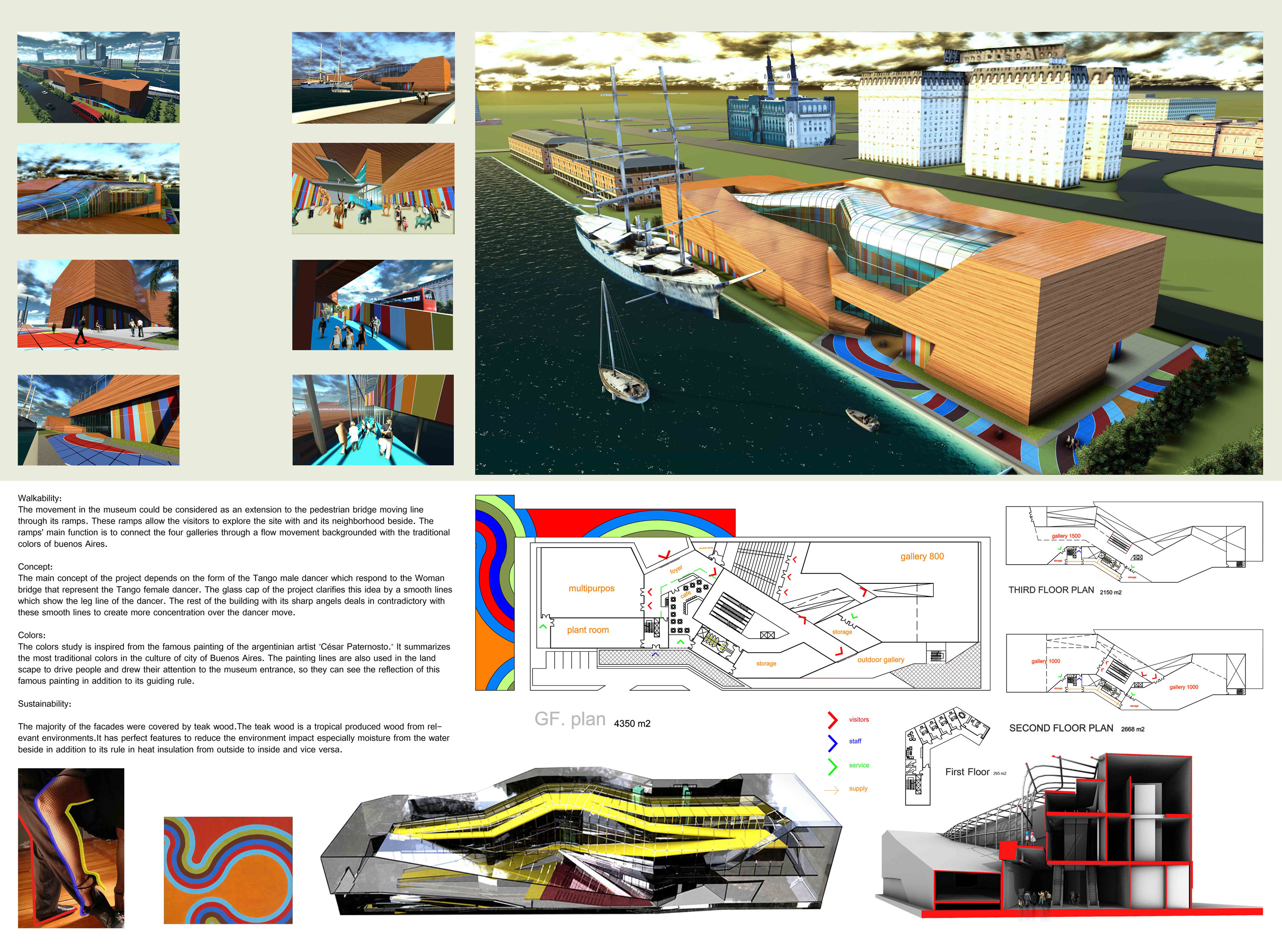 New contemporary art museum architecture student project design concept