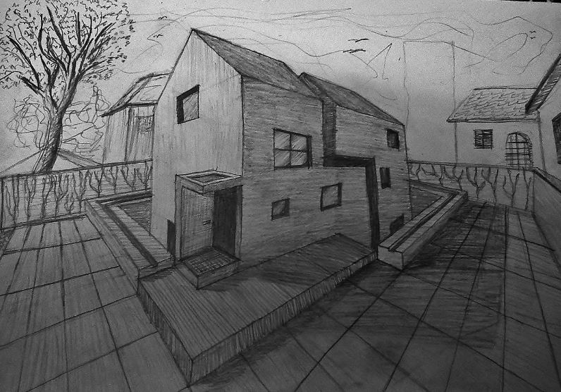 Freehand Drawings sketching architecture house buildings