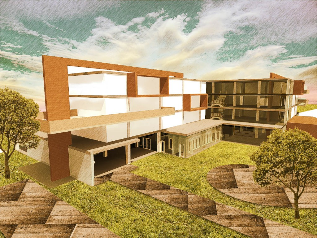 Hostel project exterior render architectural visualisations photoshop arch - Painting exterior render model ...