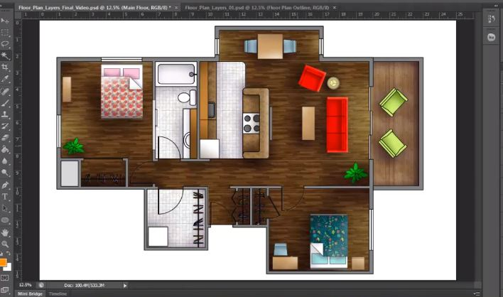 How to render a Floor Plan created in AutoCAD Photoshop Architectural Tutorials