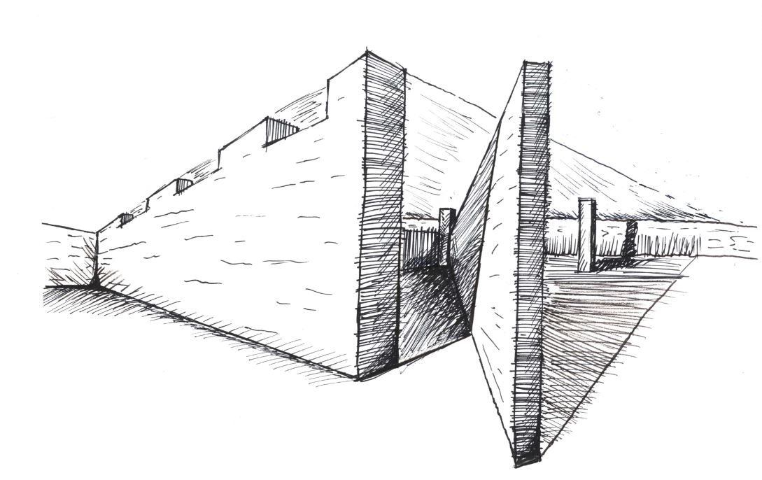 Interior Museum Drawing Sketch