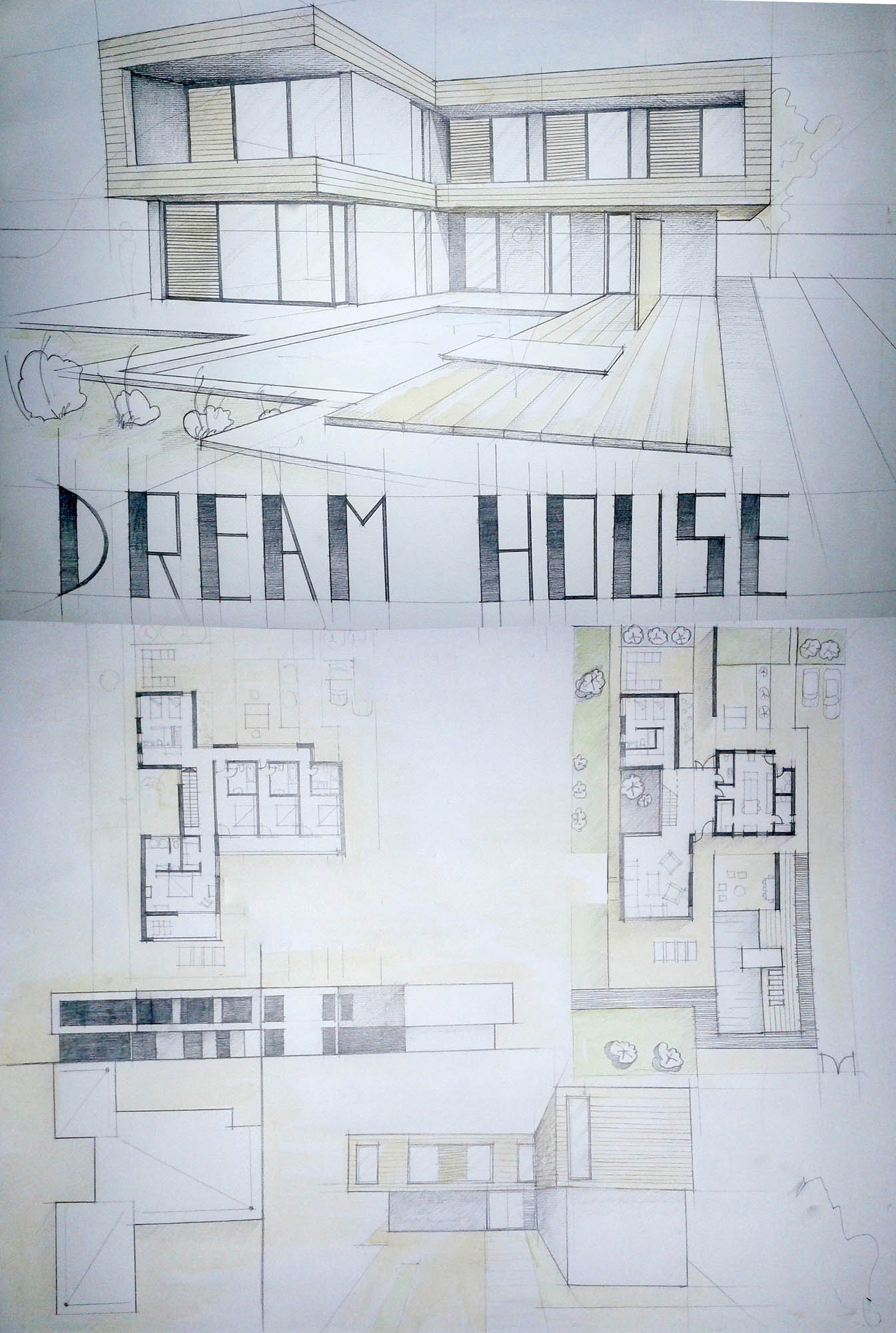Modern Architecture Font modern house drawing perspective floor plans design architecture