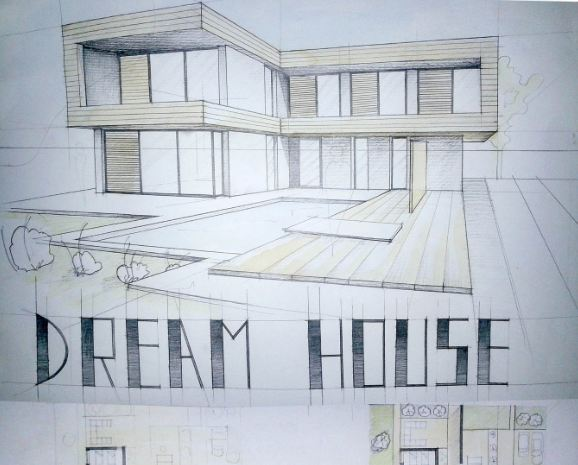 Modern house drawing perspective floor plans design architecture student arch House plan sketch design