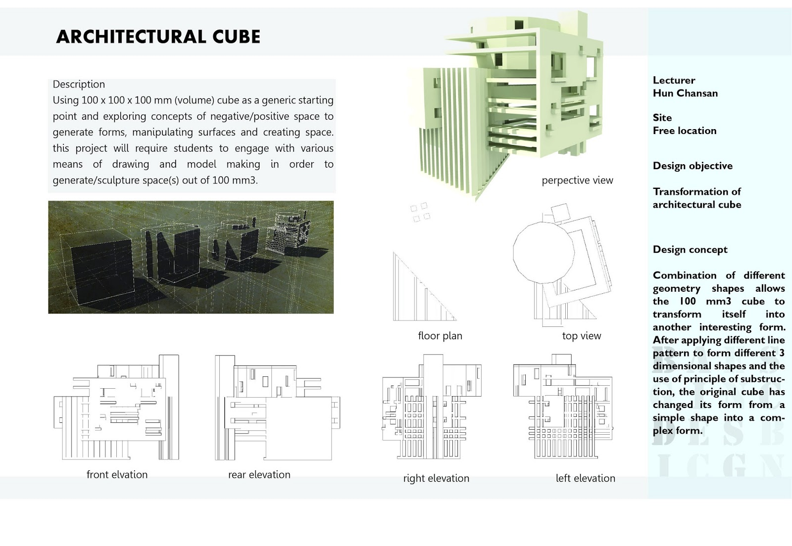 Architectural cube transformation concept design for Various architectural concepts