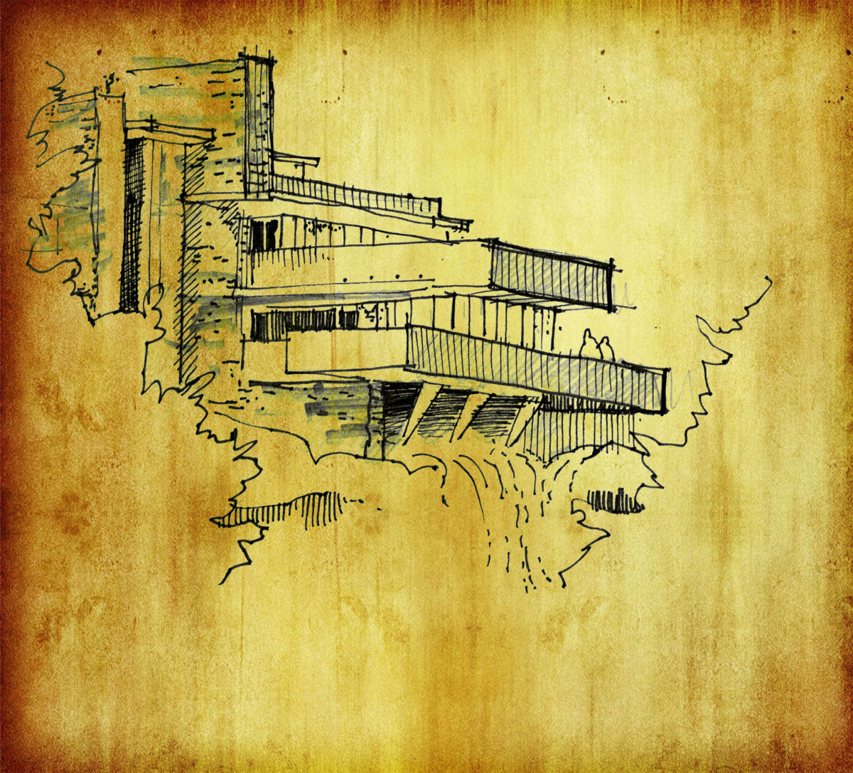 Falling Water Architectural Drawing  Sketches