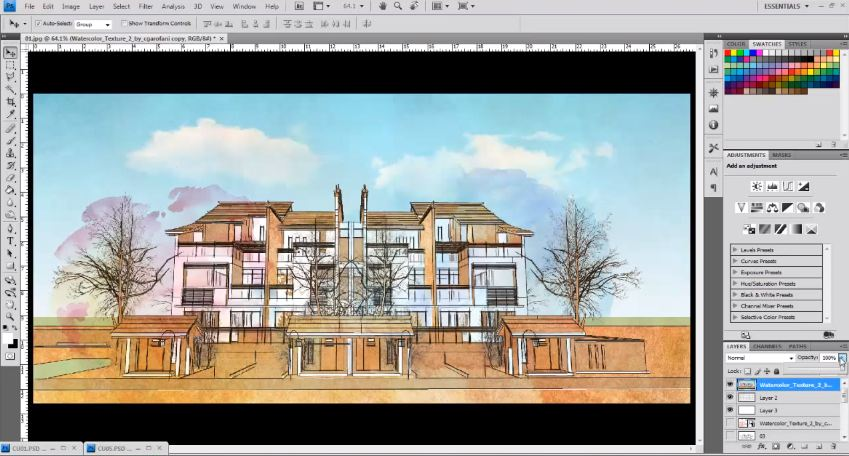Water color Style to an Sketchup Model | Photoshop Architectural Tutorials