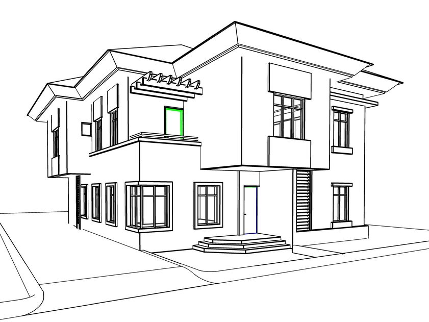 House with pool sketch omas residence villa duplex residential house