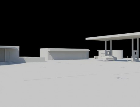 Restaurant and filling station architecture project
