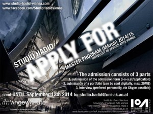 APPLY NOW! Join the architecture masters program at Studio Hadid Vienna