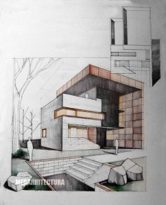 Contemporary House,  Pencil + Colored Crayons