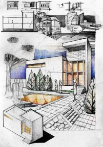 Contrasting Volumes Architectural Drawing