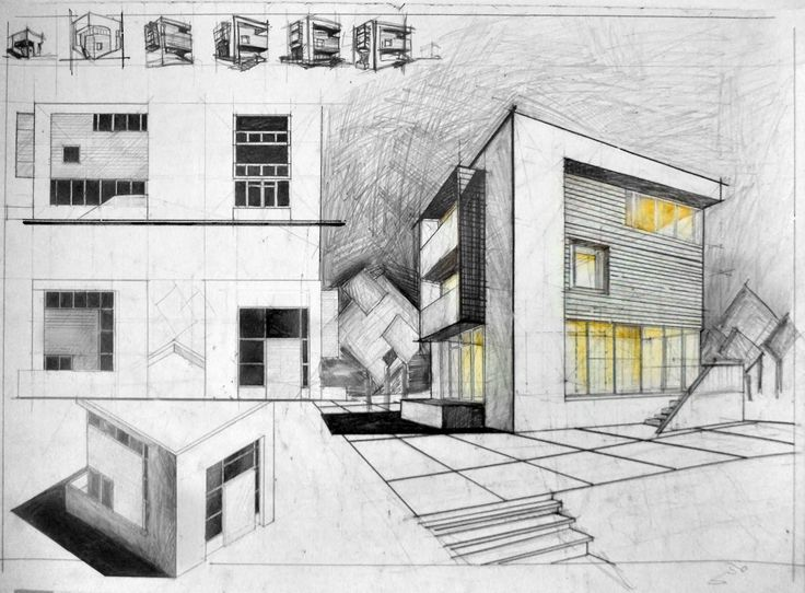 Cube house architectural drawing arch for Architectural drawings for houses
