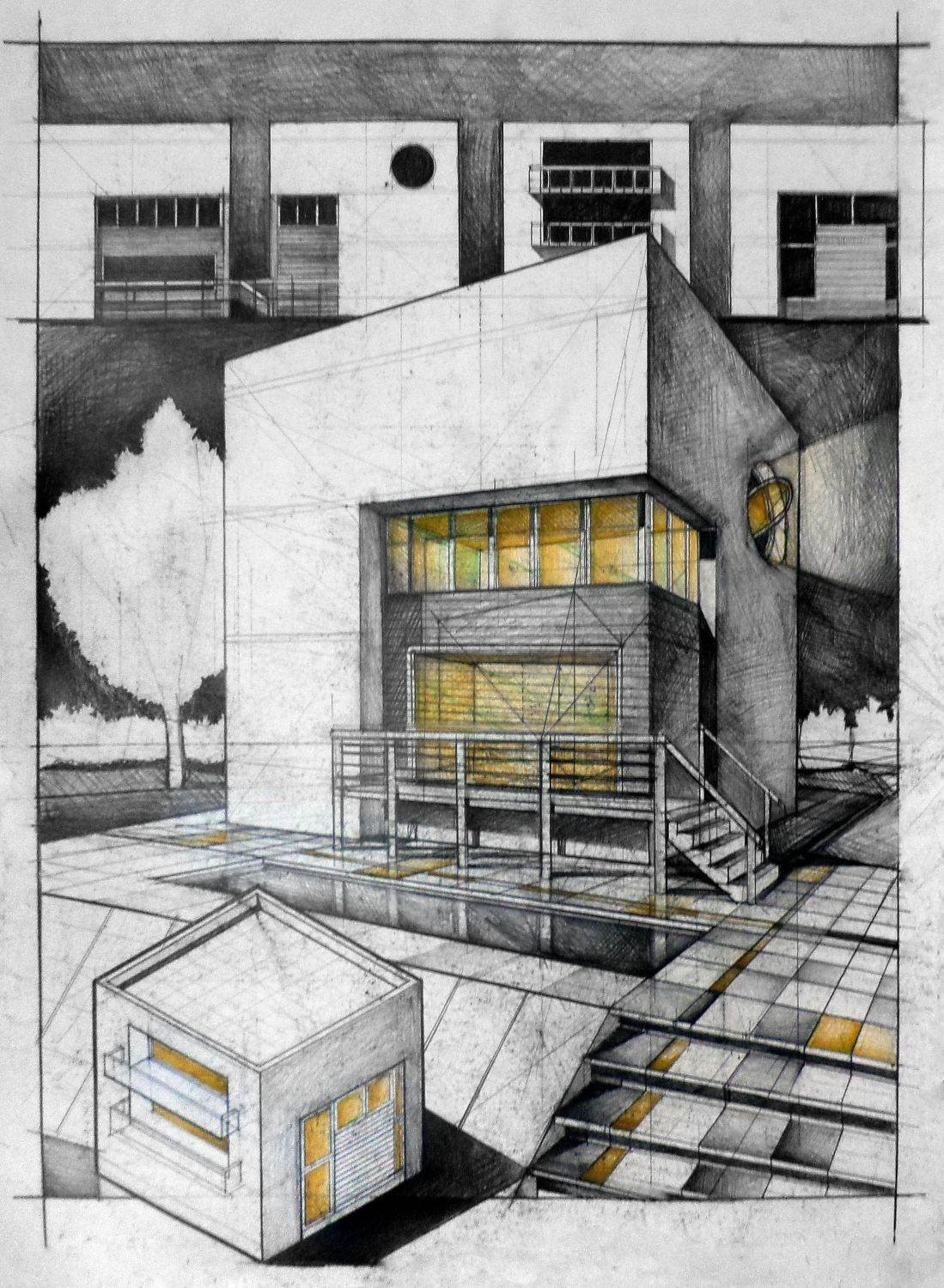 Student house architectural drawing arch for Architecture house drawing