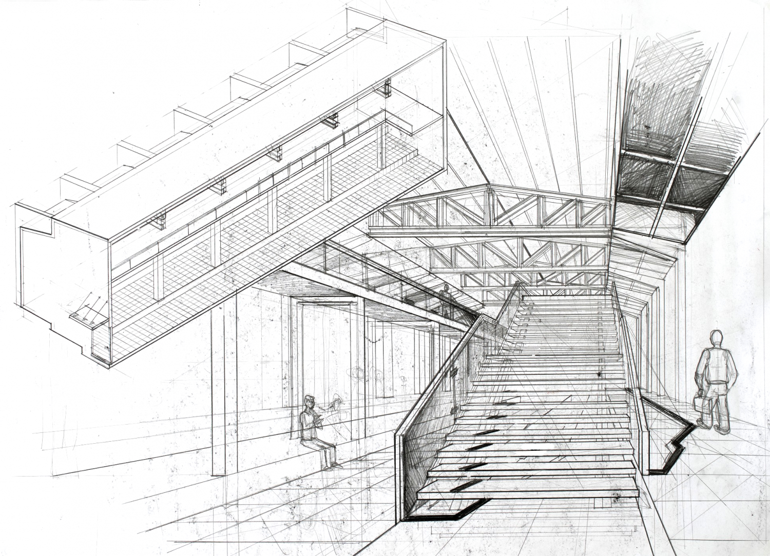 Interior perspective arch for Construction drawings and details for interiors