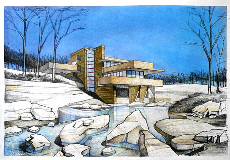 Frank Lloyd Wright's Falling Water drawing