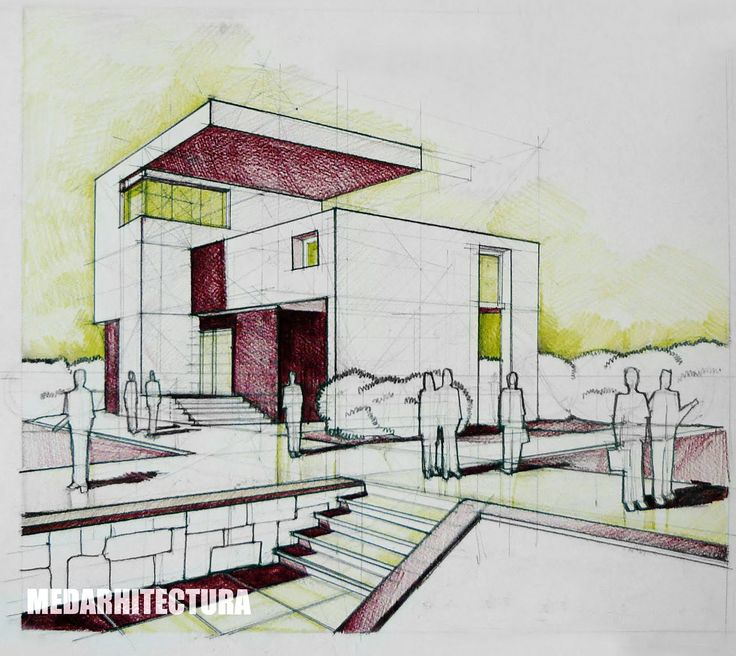 Modernist house pencil colored crayons arch for Architecture modern house design 2 point perspective view
