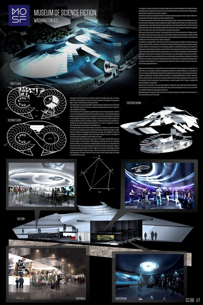Board layout museum of science fiction architecture student project concept design
