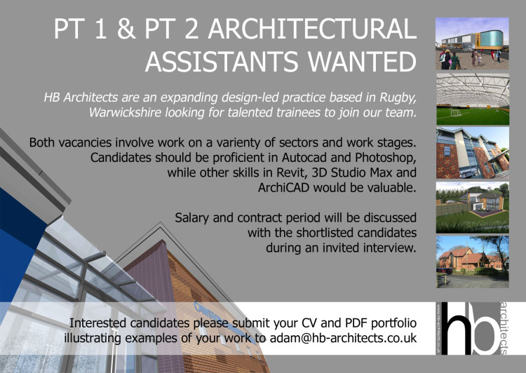 Rugby based deaign-led architects have vacancies for Part 1 and Part 2 assistants