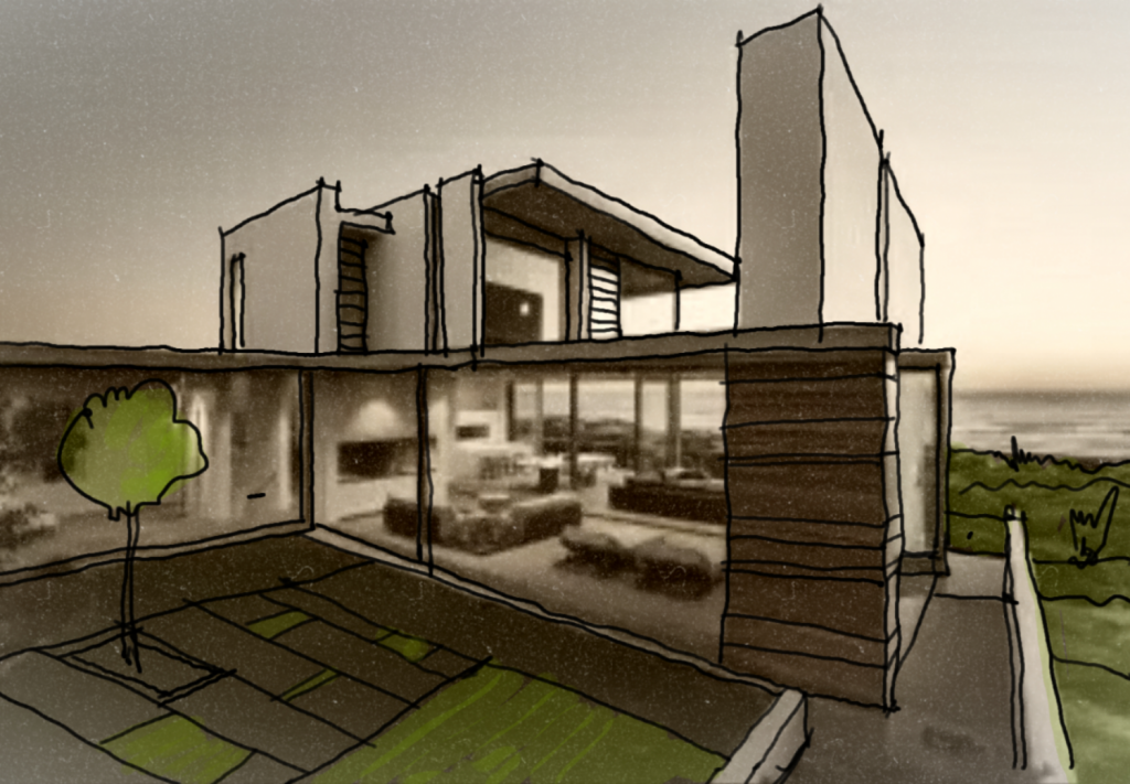 Modern House Design Sketch Arch