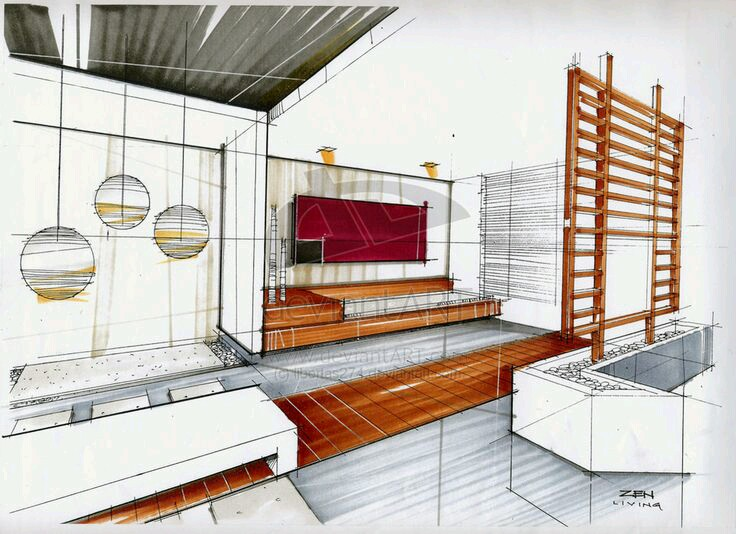 interior design marker sketch - Interior Design Sketches