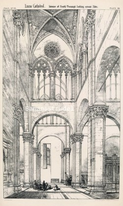 Architectural plate of the interior of the Lucca Cathedral in Italy