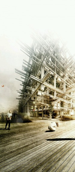 Deconstructivism Building Architectural Render