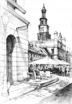 Historical Buildings Pencil Drawing