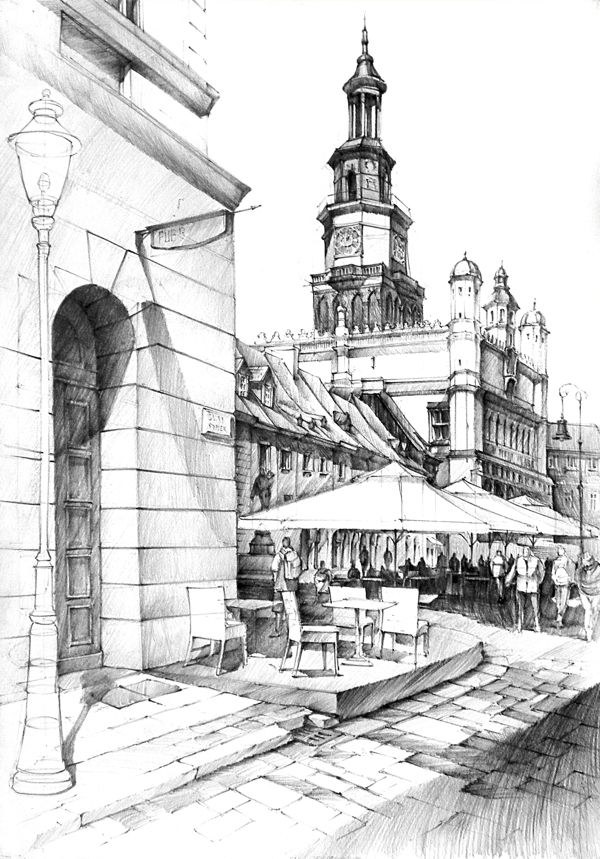Historical Buildings Pencil Drawing Arch