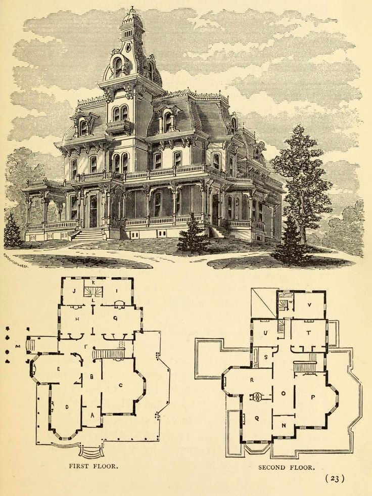 Old architectural drawings arch Victorian mansion plans