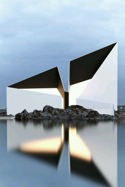 Modern Design Building over Water