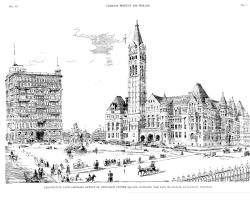 drawing of the proposed square in front of Old City Hall
