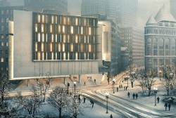Modern Building Architectural Rendering on Winter