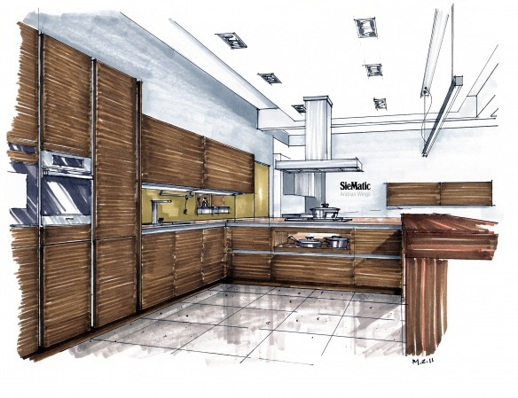 interior rendering style with markers