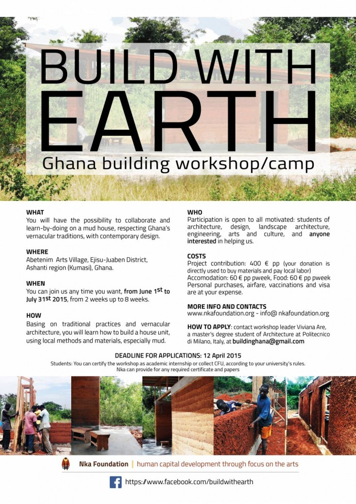 BUILD WITH EARTH – Ghana building workshop  Between June and July 2015 we will build a hou ...