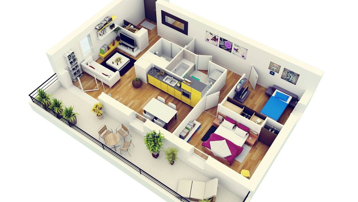 photo realistic 3d floor plan arch. Black Bedroom Furniture Sets. Home Design Ideas