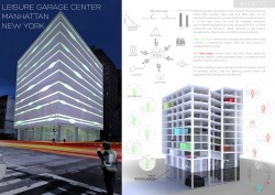 International competition COMBO COMPETITION. Parking garage with leisure center located in Manha ...