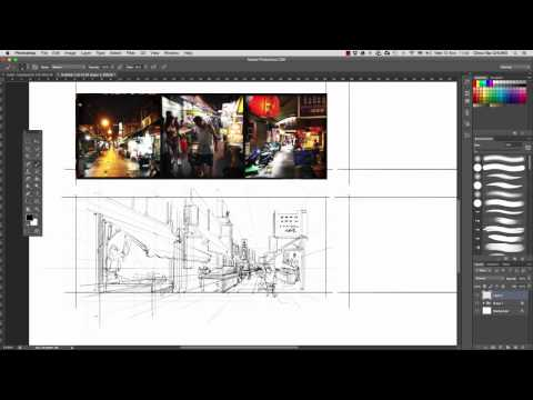 Taipei, Taiwan – Draw in perspective – Speed-sketch-Street Market
