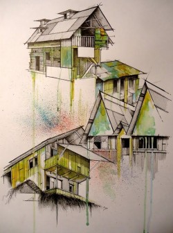 Architectural render – Hand drawn house with watercolor