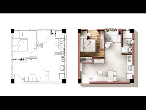 Architecture plan render by photoshop arch for Rendered floor plan